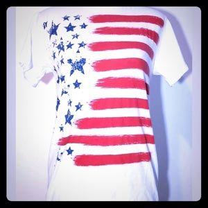 Hybrid Womens American Flag Tee Shirt Small. Cotto